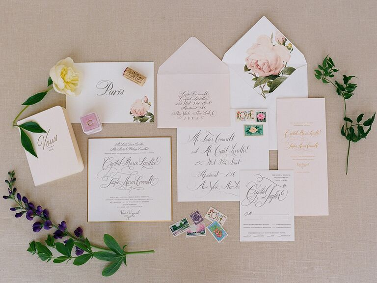 Wedding invitation suite with intrique calligraphy