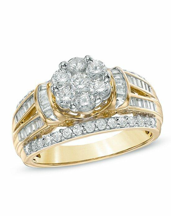 Zales 1-1/4 CT. T.W. Diamond Flower Engagement Ring in 10K Yellow Gold IJ/I2I3  19972224 Engagement Ring photo