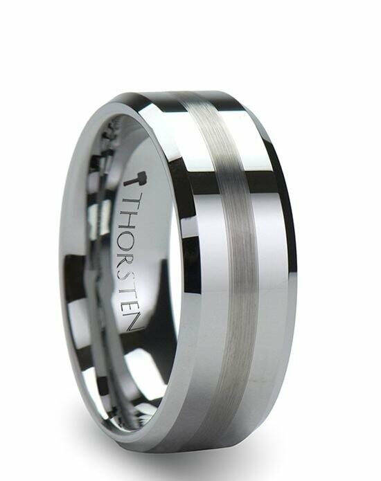 Larson Jewelers GRENOBLE Flat Beveled Tungsten Wedding Band with Brushed Stripe - 6mm & 8mm Wedding Ring photo