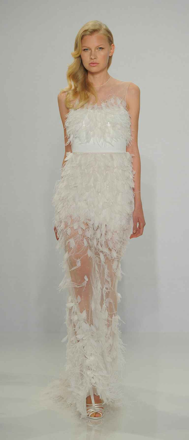 Christian Siriano Spring 2017 feather appliqué column gown wedding dress