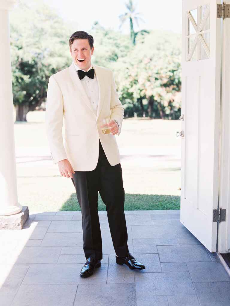 Black and white groom's tux