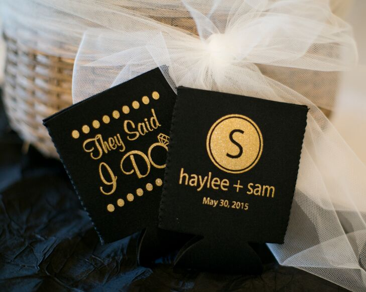 black and gold koozie favors