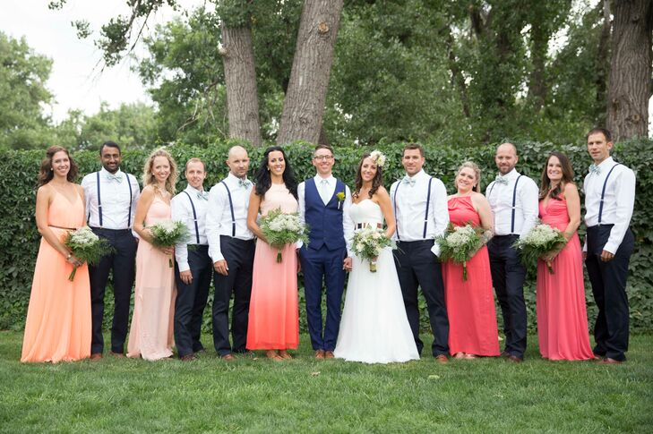 Navy And Coral Wedding Colors: Casual Coral And Navy Wedding Party