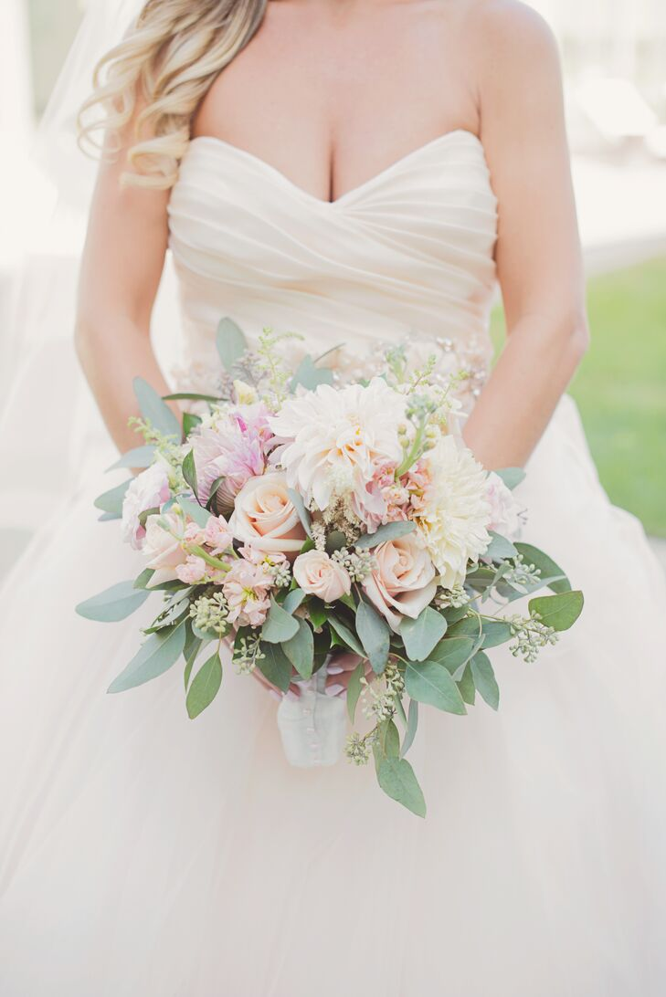 Romantic Rose Peony And Eucalyptus Bouquet