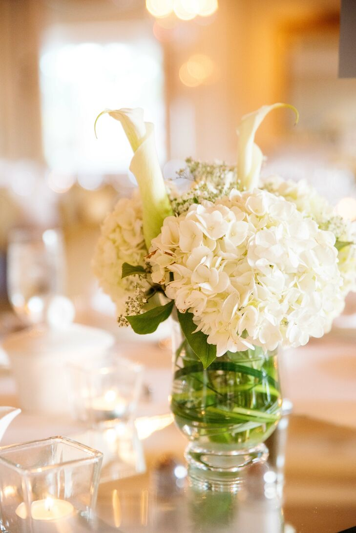 White Flower Arrangements with Hydrangeas and Calla Lilies