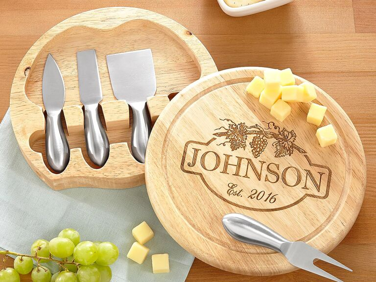 35 wedding gift ideas personal creations vineyard cheese board personalized wedding gift negle Images