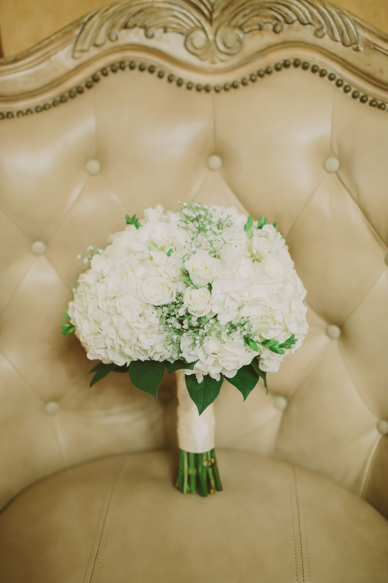 White Rose And Baby S Breath Bouquet With Gold Ribbon And