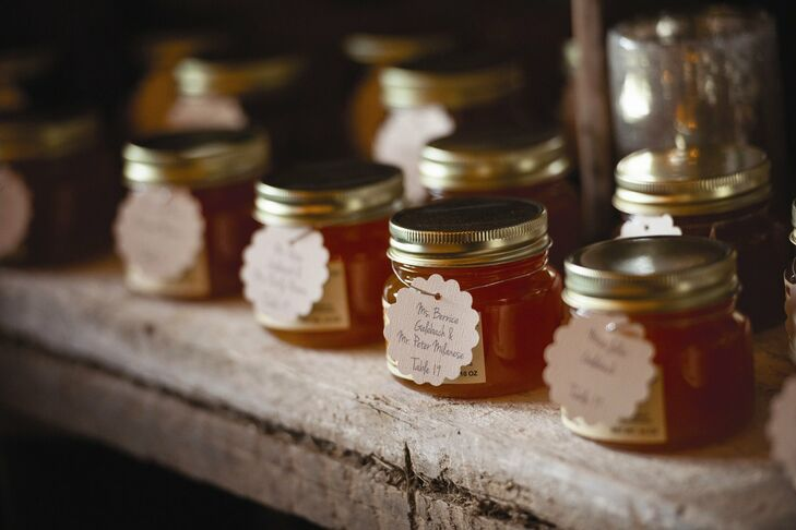 Our favors were peach jams that were also used as our escort cards. We wanted to send our guests home with a taste of Lancaster county, Paige says.