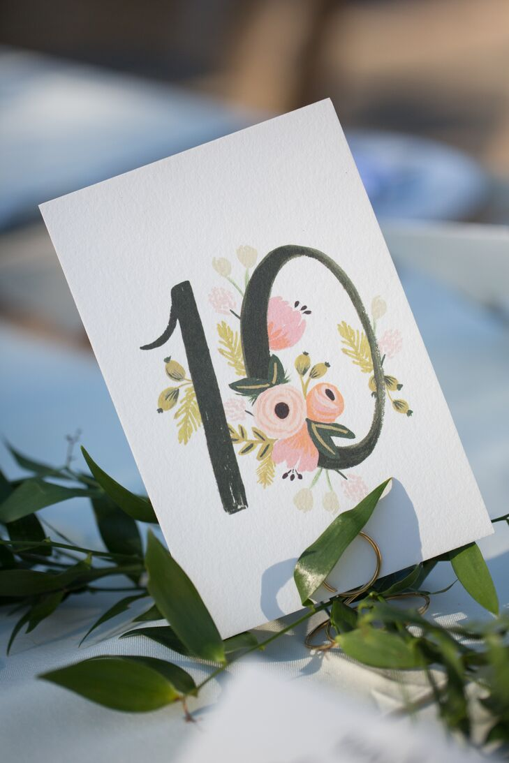 Floral-Designed Table Number
