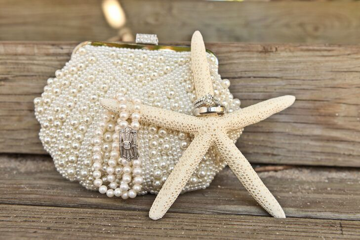 Pearl-Covered White Clutch and Bracelet