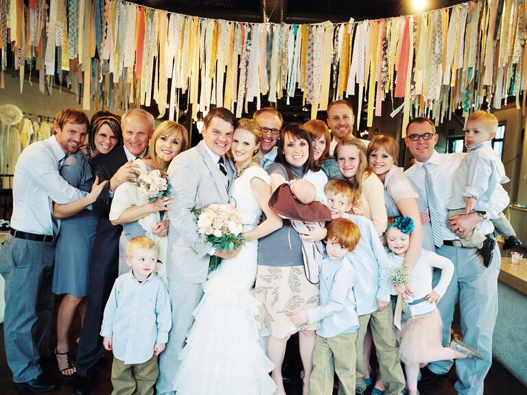 Relaxed family wedding photo