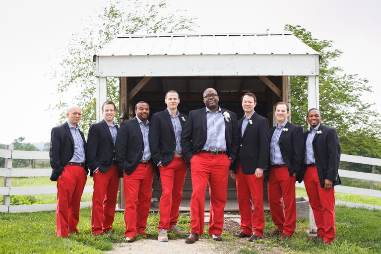 Groomsmen and Groom Wearing Red Pants Gingham Shirt Navy Jacket