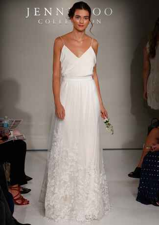 Jenny Yoo Fall 2016 wedding dress with v neckline and spaghetti straps and straight skirt with lace details on trim
