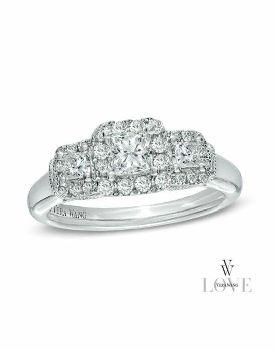 Vera Wang LOVE at Zales Vera Wang LOVE Collection 3/4 CT. T.W. Princess-Cut Diamond Three Stone Engagement Ring in 14K White Gold  19502160 Engagement Ring photo