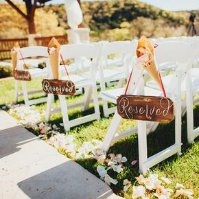 Wooden Chair Signs With Whimsical White Calligraphy