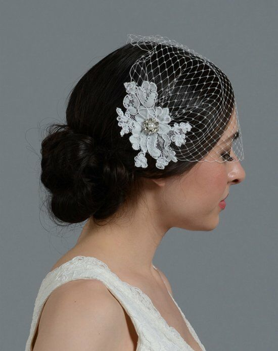 Tulip Bridal Birdcage Veil with Alencon Lace Flower-ivory Wedding Accessory photo