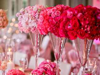 Red and pink rose centerpieces