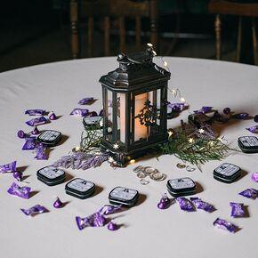 Purple hershey kiss wedding favors simple black lantern centerpiece junglespirit Image collections