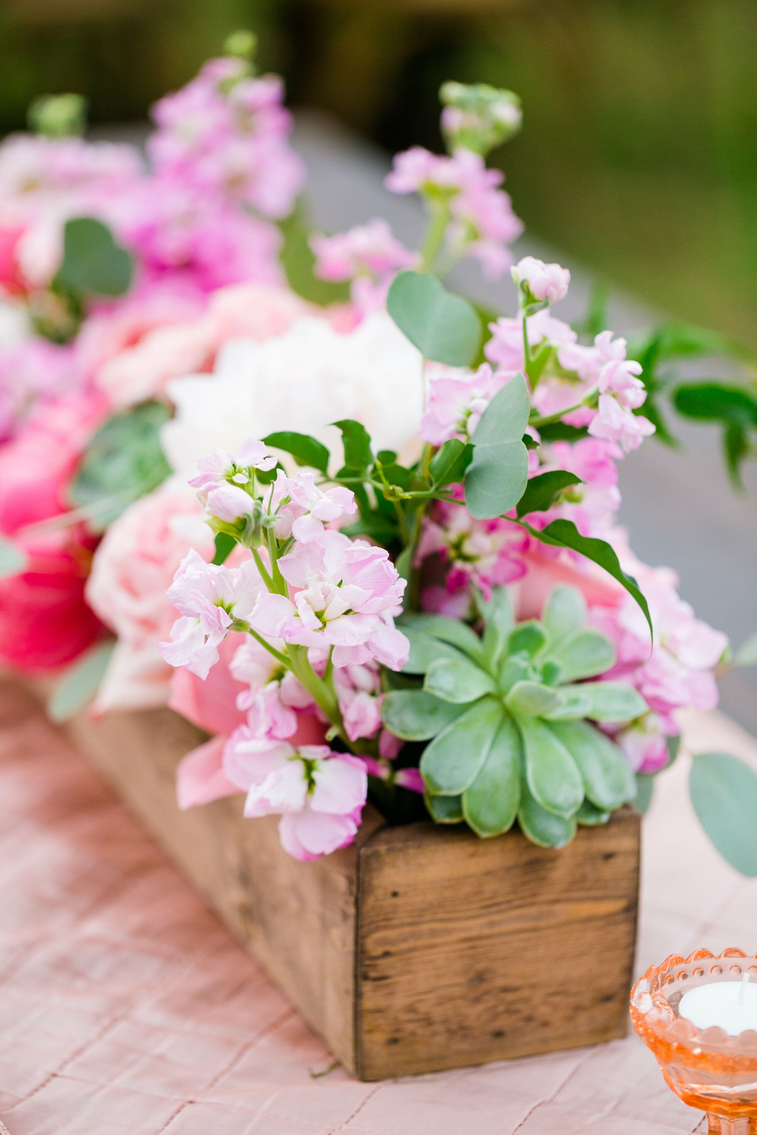 Peony and succulent wood flower box centerpieces