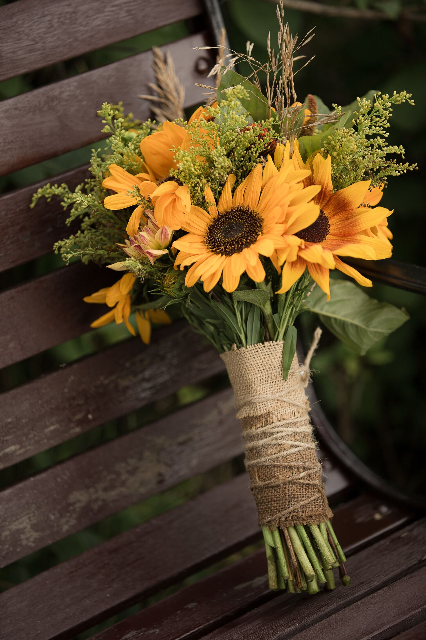 Yellow Sunflower Bridal Bouquet With Burlap Wrap