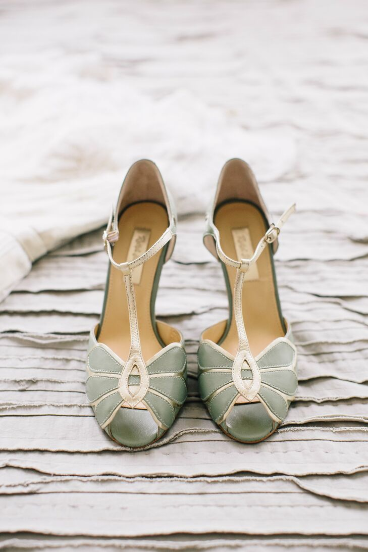 Vintage Sage T Strap Shoes