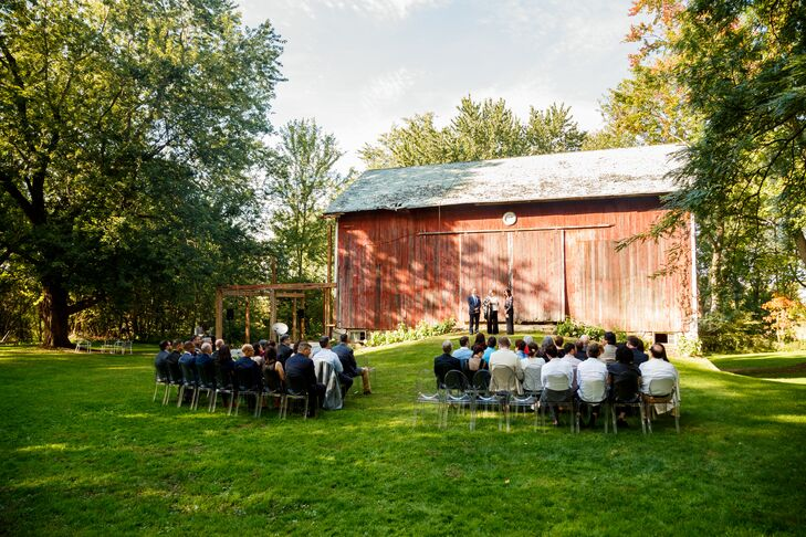 "A close friend of the grooms (and one of the owners of the farmhouse) officiated the ceremony, where appeared through the barn doors (instead of walking down the aisle) to Joshua Radin's ""Today."""