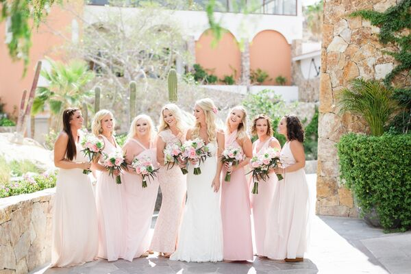 Long, Pale-Pink Bridesmaid Dresses