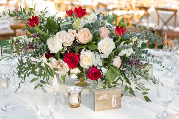 Eucalyptus And Garden Rose Centerpiece