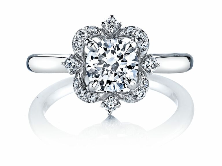 color change effect engagement ring by coast diamond floral accents