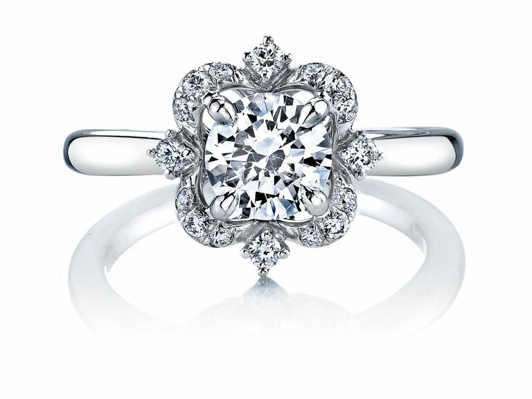 color change effect engagement ring by coast diamond 4 floral accents