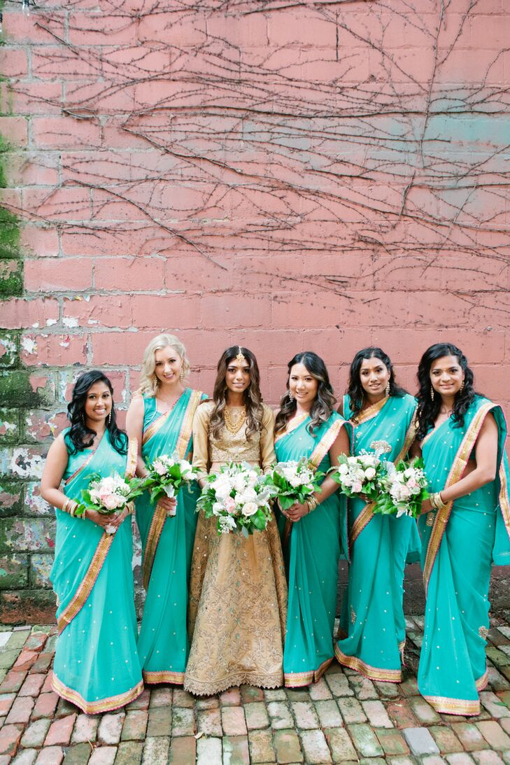 Vibrant Turquoise and Gold Bridesmaid Saris