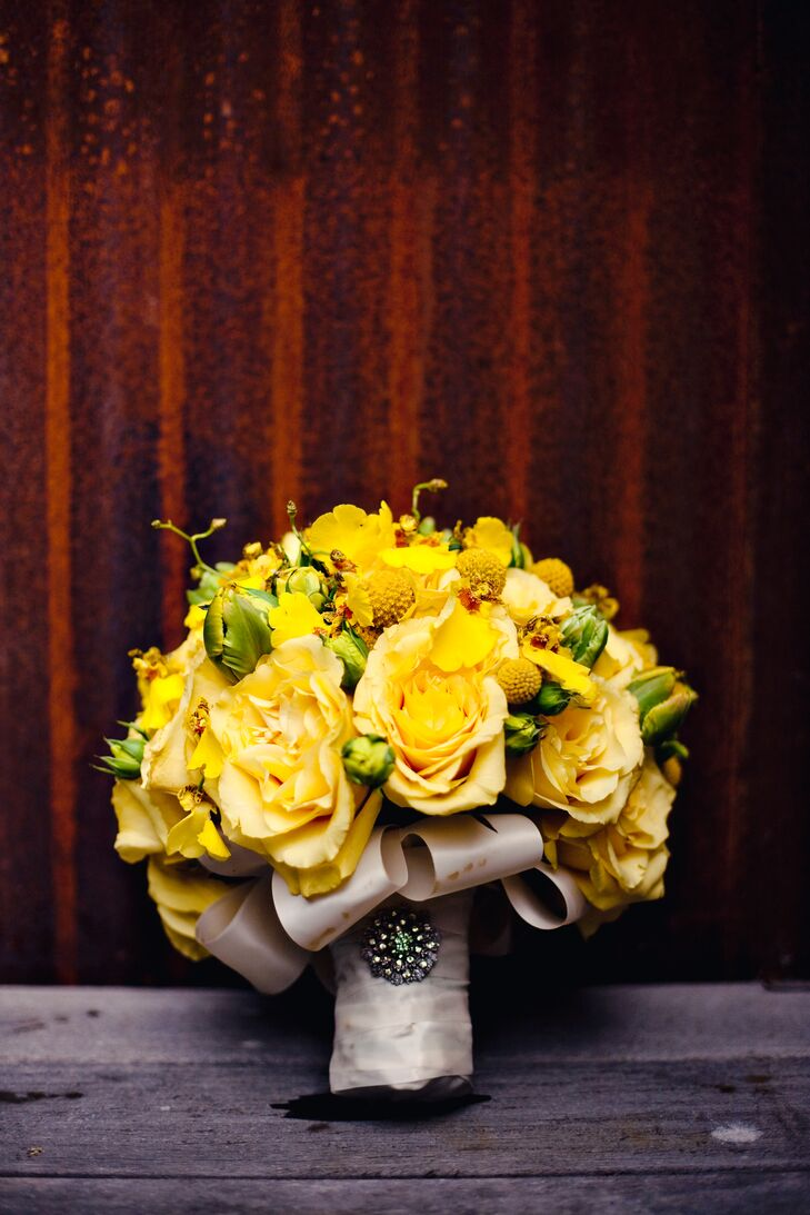 Yellow Rose Bouquet With Green Accents