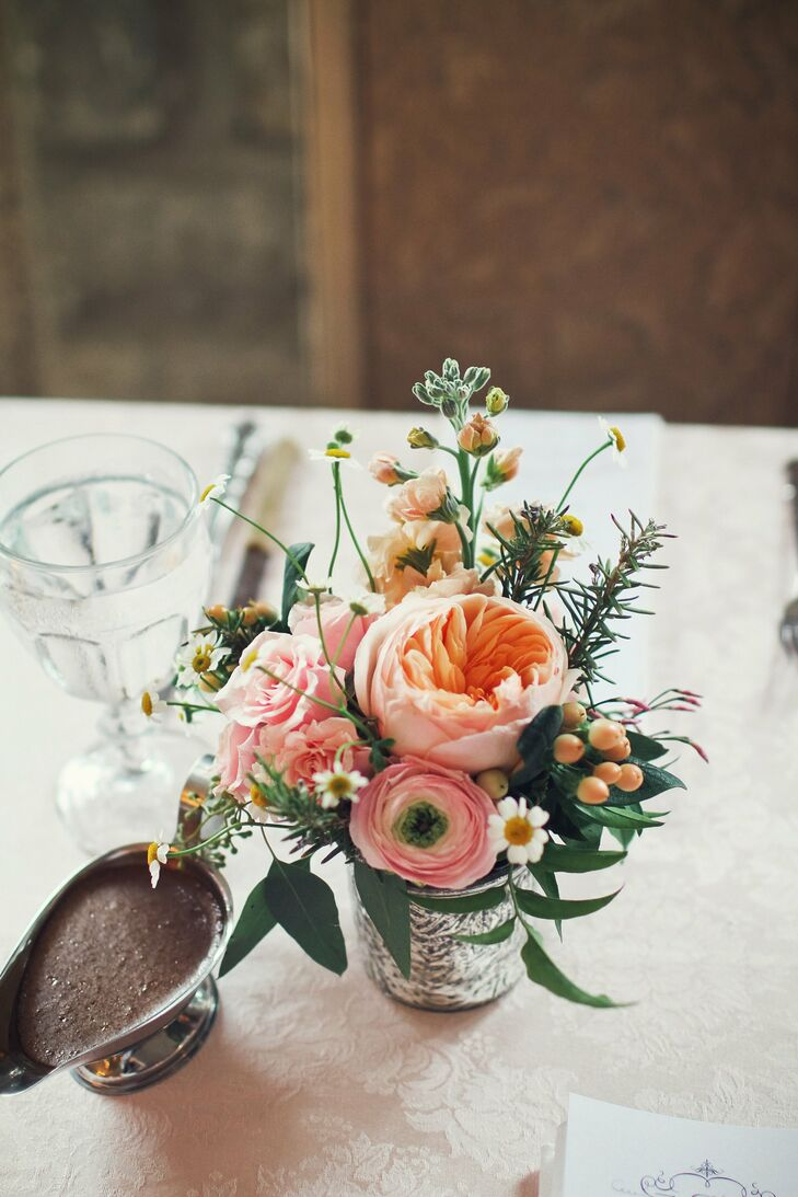 Small Peach and Pink Centerpiece