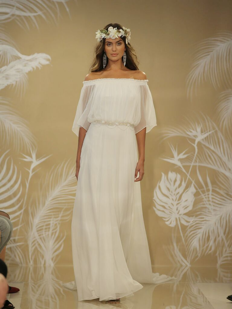Theia fall 2017 collection bridal fashion week photos theia fall 2017 off the shoulder wedding dress with sheer flowing sleeves and flowing skirt junglespirit Images