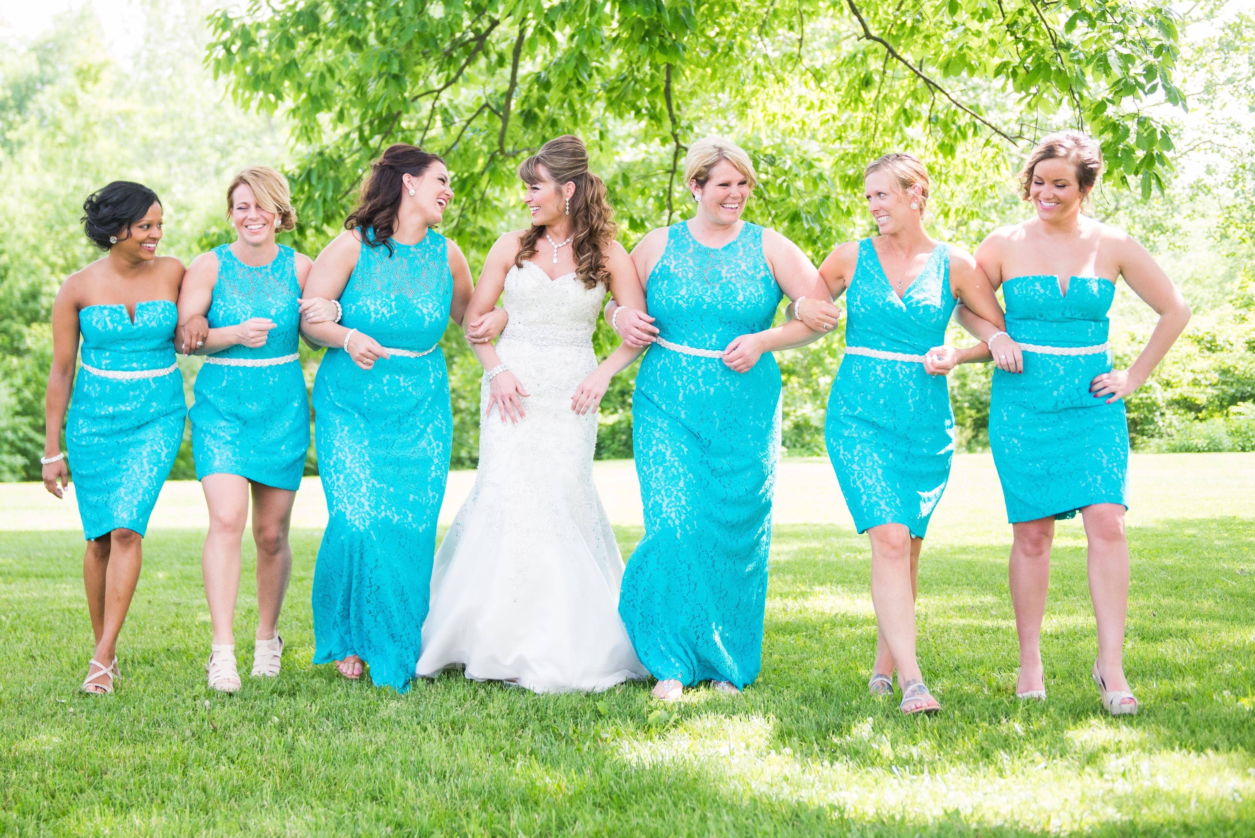 Donna Morgan Bold Turquoise Lace Bridesmaid Dresses