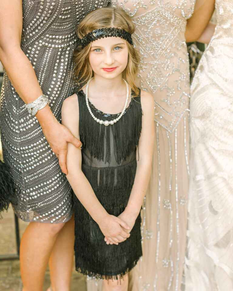 Creative flower girl idea, dressing up in a flapper-style dress