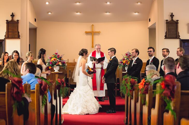 The couple exchanged vows in a traditional ceremony at Walton Memorial United Church in Ontario.