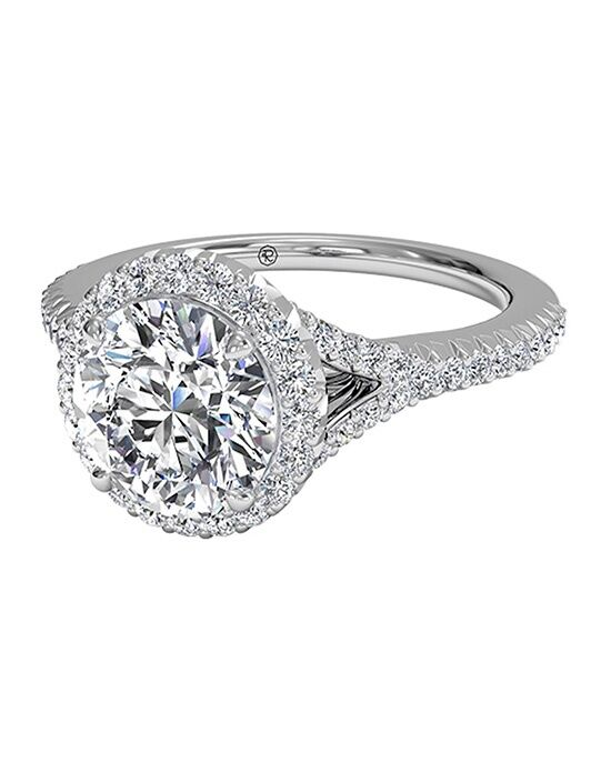 Ritani Round Cut French-Set Halo Diamond 'V' Band Engagement Ring in 18kt White Gold (0.23 CTW) Engagement Ring photo