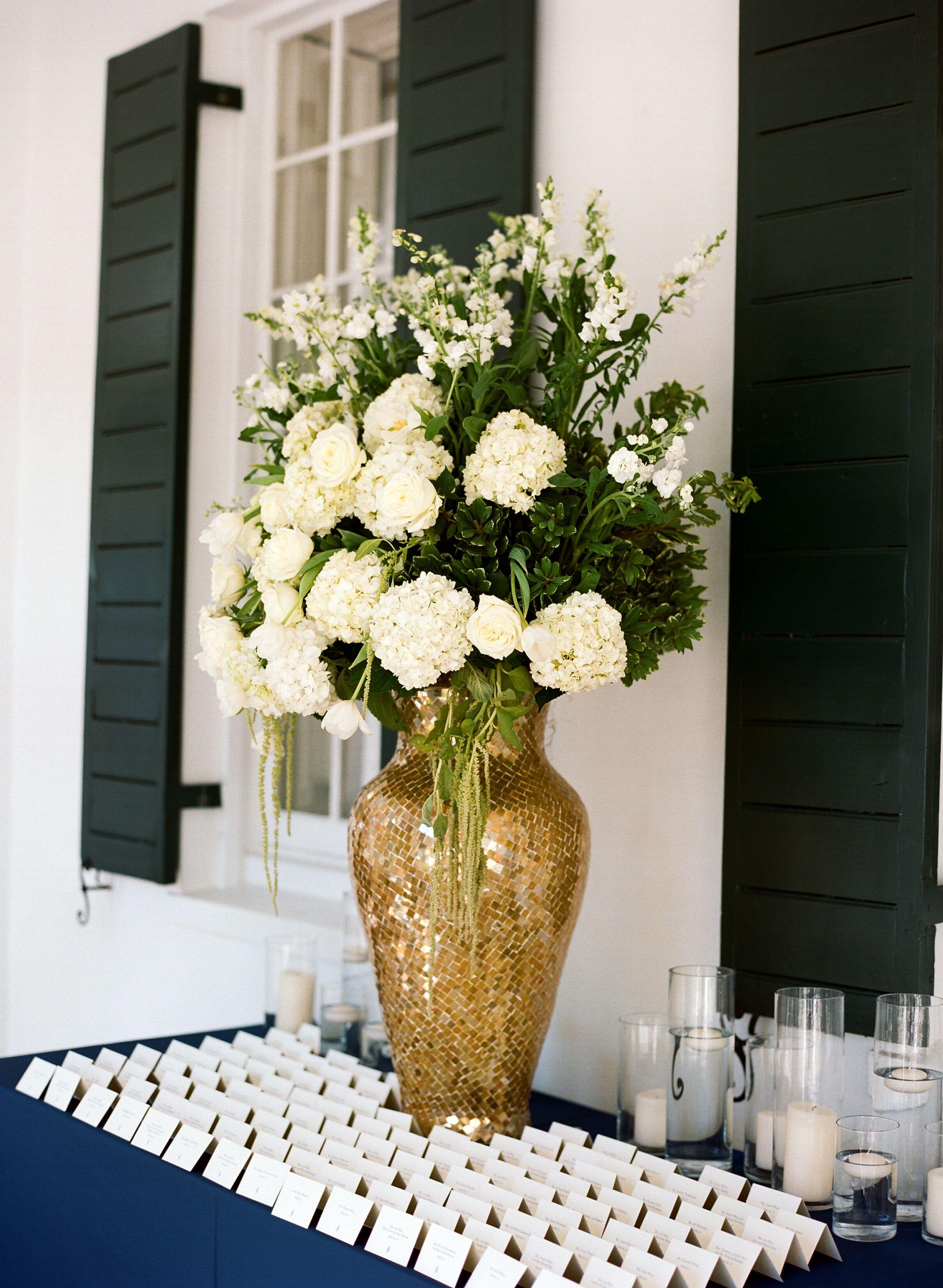 Escort Card Display Table With Mosaic Riser Vase