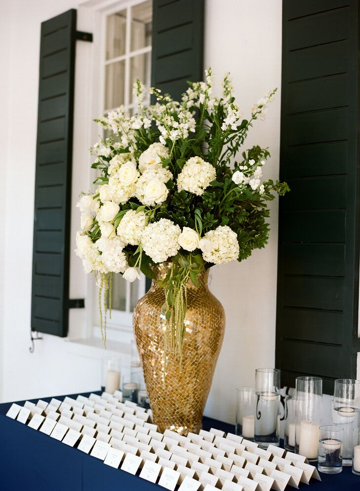 Escort Card Display Table with Mosaic Riser Vase
