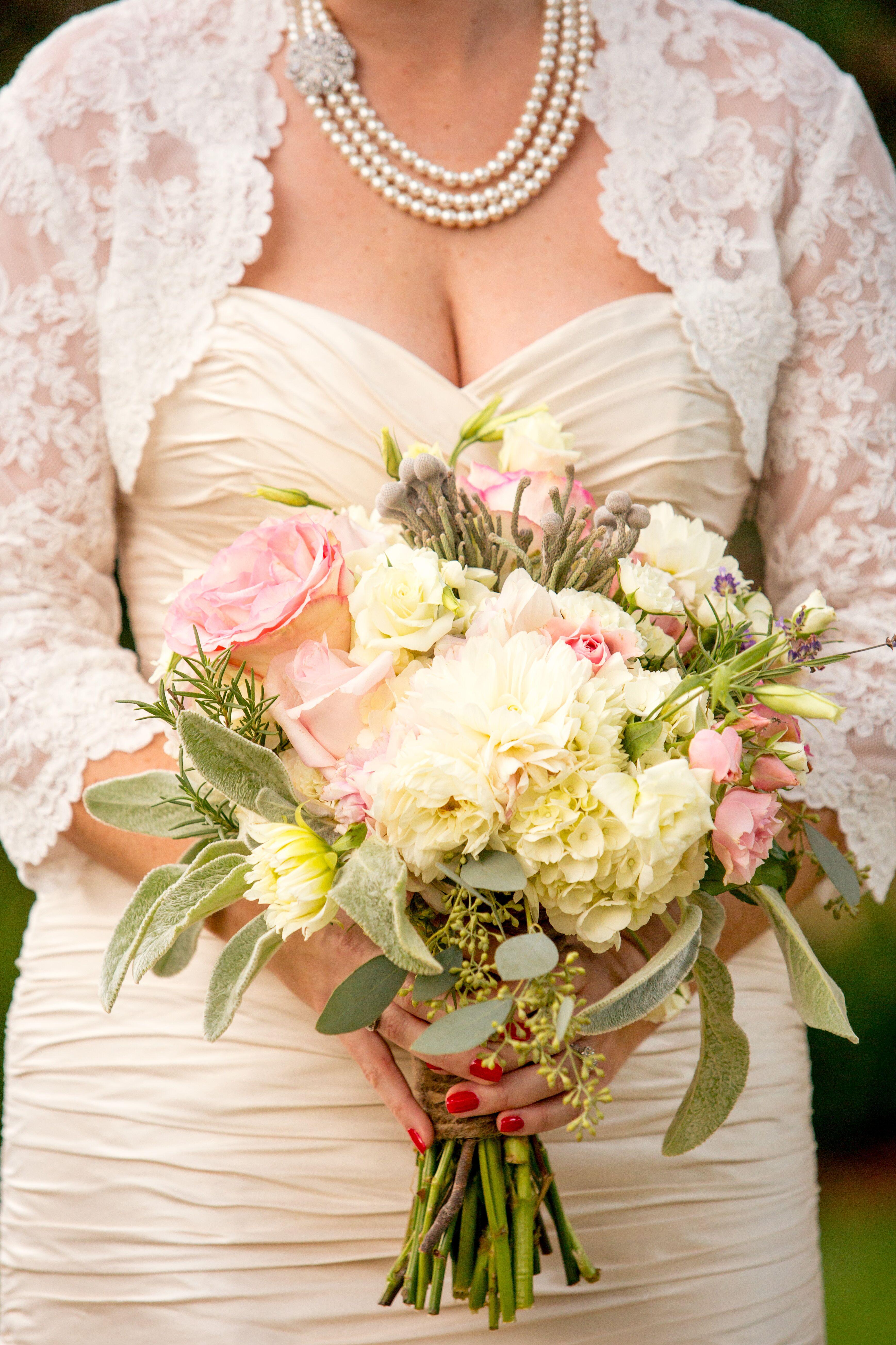 Elegant Textured White And Blush Bridal Bouquet