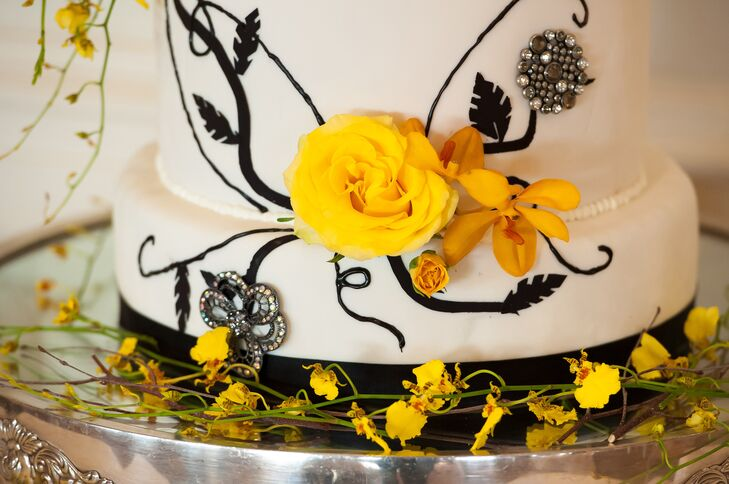 Yellow Rose and Orchid Wedding Cake Details