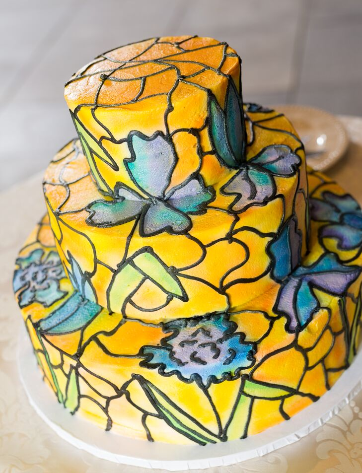 Yellow and Blue Stained Glass Wedding Cake