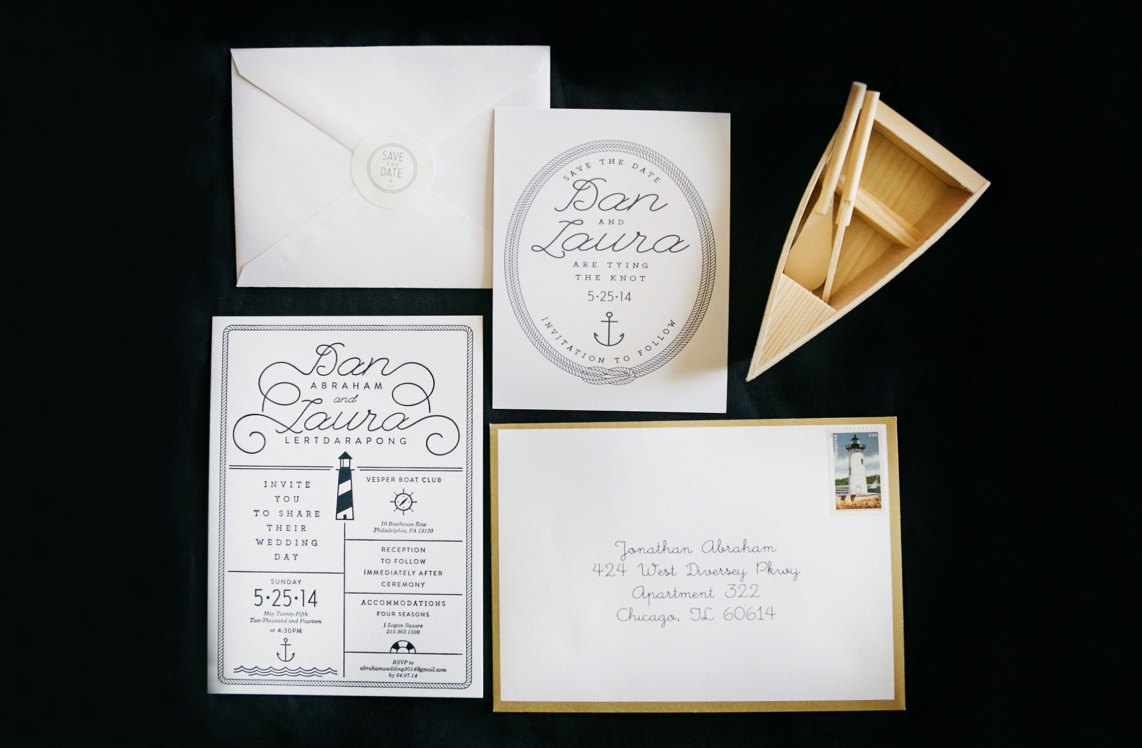 Navy Blue, Gold and White Wedding Invitations