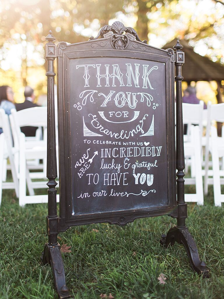 18 unique chalkboard wedding sign ideas handlettered wedding chalkboard thank you sign junglespirit Image collections
