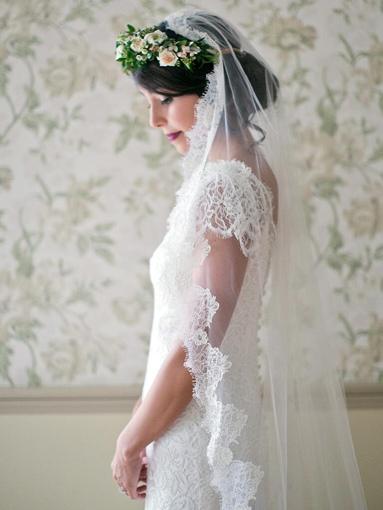 Mantilla lace veil with flower crown