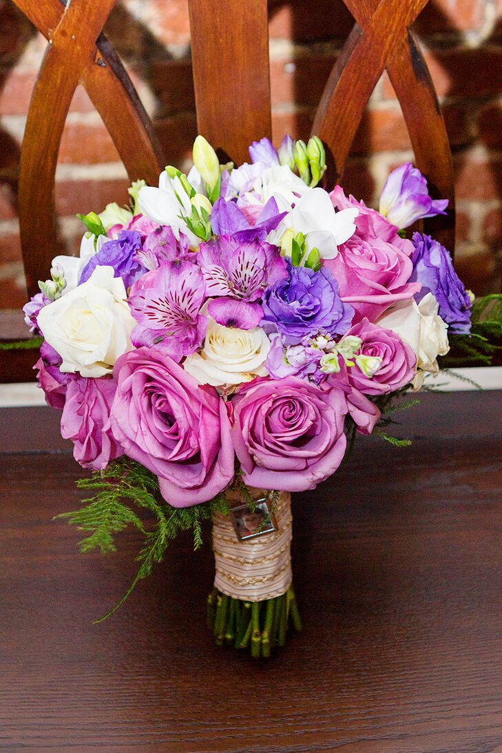 Purple Rose and Iris Wedding Bouquet