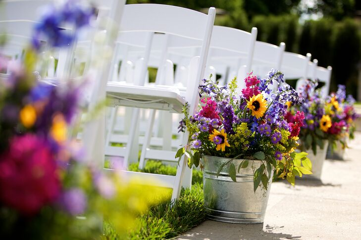 Yellow Pink Purple Wildflower Wedding Aisle Decor
