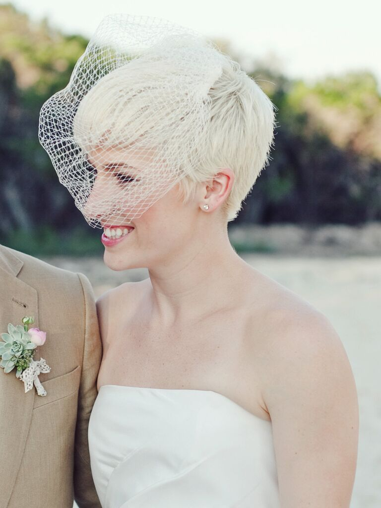 Platinum Pixie Cut With A White Birdcage Veil Short Wedding Hairstyle