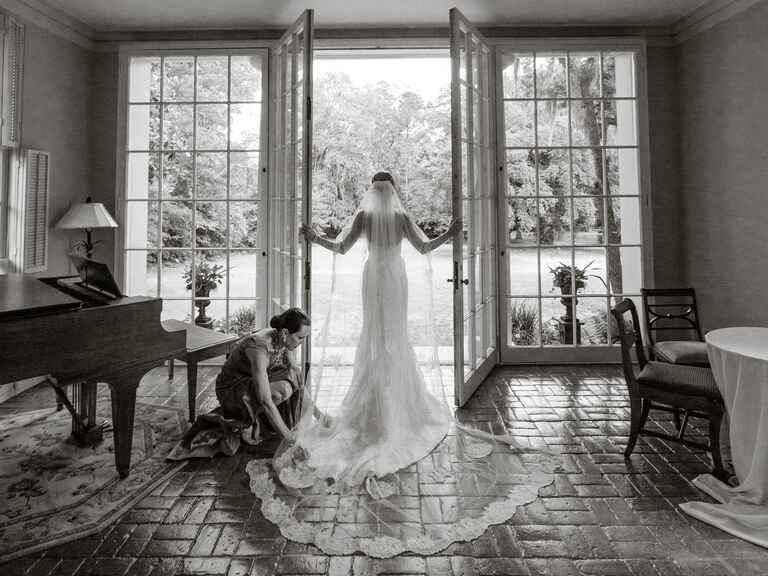 Classic black and white bridal portrait in wedding dress